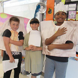 Students Tyler Rankin, Ryan Morgan, and Christopher Harris studied Native Americans.