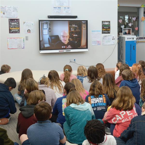 Author Roland Smith answers questions from Love Creek fifth-graders.