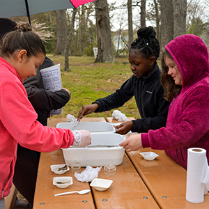 Fifth Grade students testing water from the Rehoboth canal.