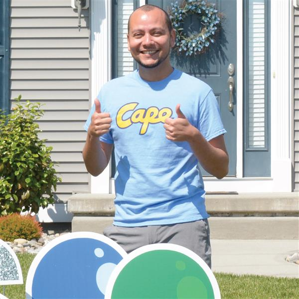 Cape Teacher of the Year was surprised with a congratulatory sign in his front yard.
