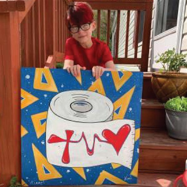 Milton Elementary second-grader Jude Kimmel is painting positive signs to cheer local workers.