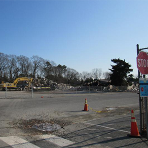 The site of the old Rehoboth Public School is now rubble.