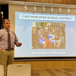 Cape Superintendent Bob Fulton outlined the need for a tax increase.