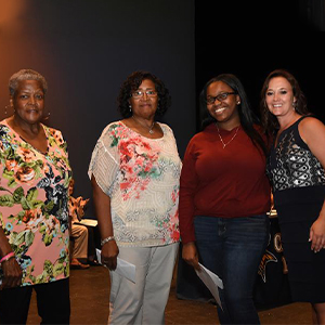 Shayla Brittigham, is shown with (l-r) Waynne Paskins, Janie Miller and Cape Principal Nikki Miller