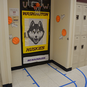 March Madness Door Displaying University of Washington