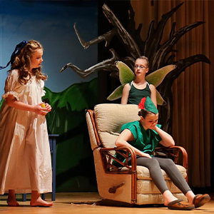 Beacon Middle School students shown are (l-r) Hadyn Carter-Hanson as Wendy, Maya Thompson as Peter